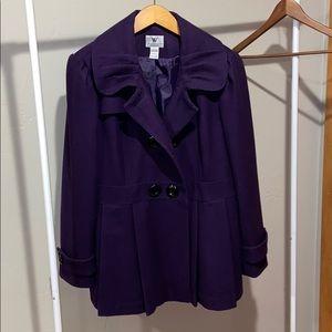 Purple Worthington wool pea coat size XL